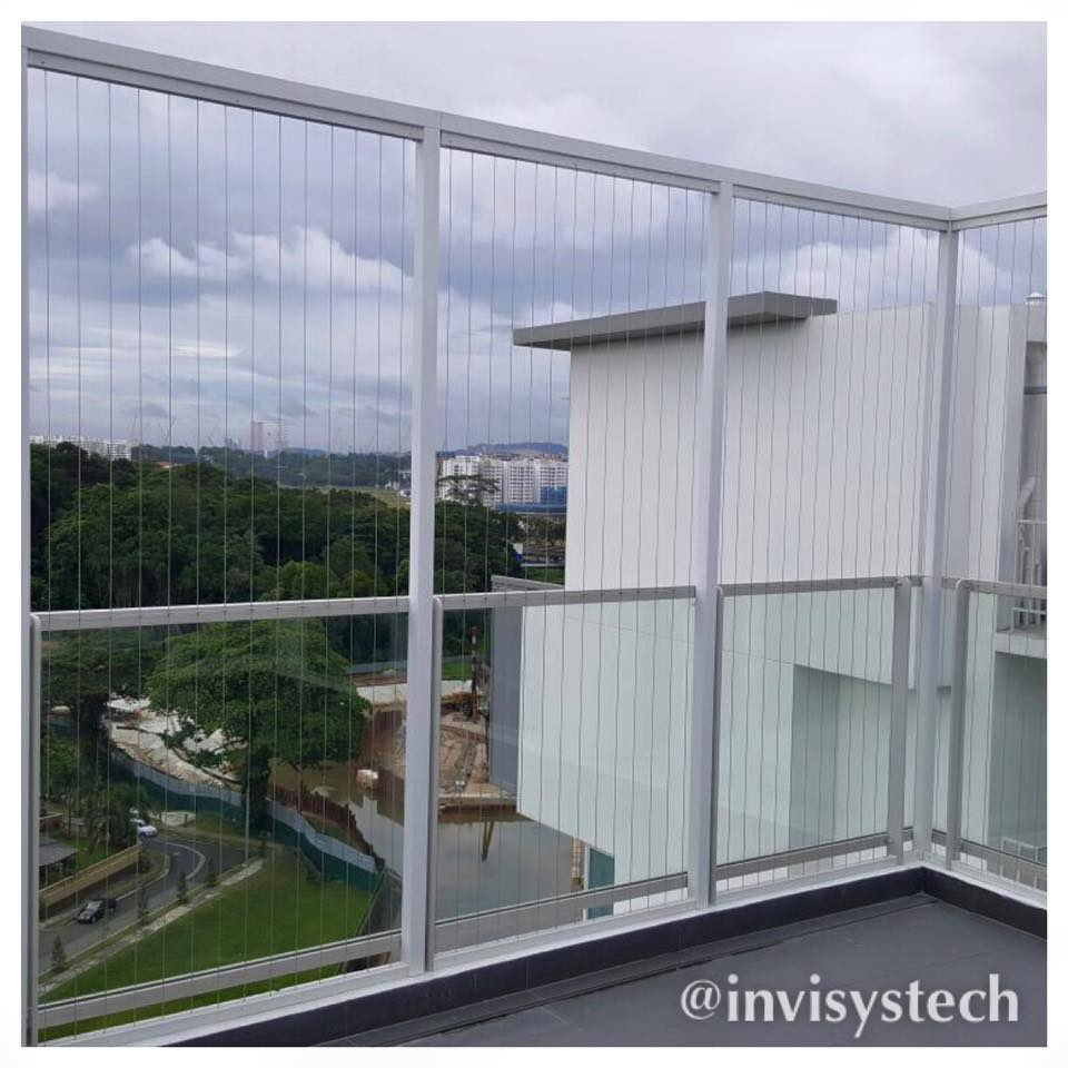 Irregular shape balcony invisys invisible grille for Balcony safety grill designs